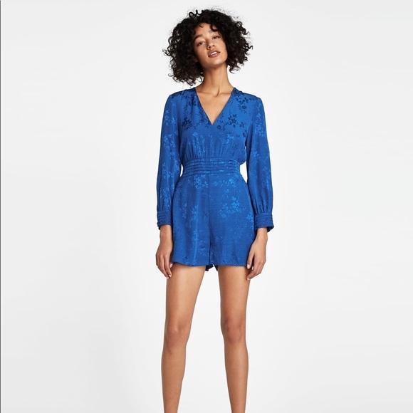 70582657 Zara Dresses | Nwt Short Jacquard Jumpsuit | Poshmark